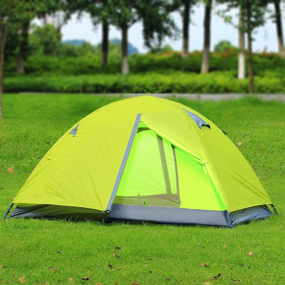 2 Person Tent Double Layer 3 Season C&ing Hiking Backpack Tent with Rainfly Fruit Green * & 2 Person Tent Double Layer 3 Season Camping Hiking Backpack Tent ...