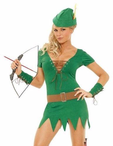 Robin Hood Costume XL Women Sexy Adult Cosplay Halloween Green Dress Archer Pan  sc 1 st  Pinterest & Robin Hood Costume XL Women Sexy Adult Cosplay Halloween Green Dress ...