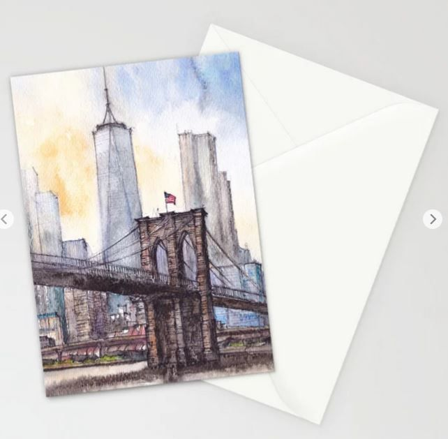 #ny #newyork #usa #illustration #ink #watercolor #art #sketch #urban #architecture #colorful #multicolor #aerialview #buildings #tourism #tourist #brooklyn #bridge #sale #gift #idea #s6 #society6 #printondemand #shopping #giftidea #handdrawn #drawing #painting #homedecor #decoration #artist #architect #fineart #turquoise #blue #sky #positiveart #positive #vacation #oneworldtradecenter #skyscrapers #water #cards #envelope #greetings #postcard #post #stationery
