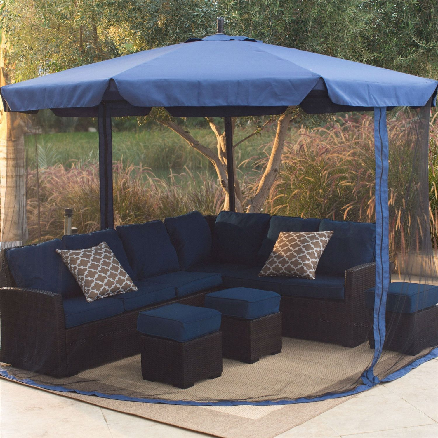 11 Ft Offset Patio Umbrella In Blue With Base And Detachable Mosquito Netting Outdoor Outdoor Furniture Offset Patio Umbrella Patio Umbrella Pergola Designs