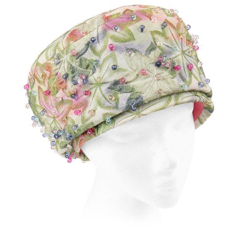0509ce61 CHRISTIAN DIOR Chapeaux c.1960's Beaded Leaf Jacquard Peach Basket Pillbox  Hat