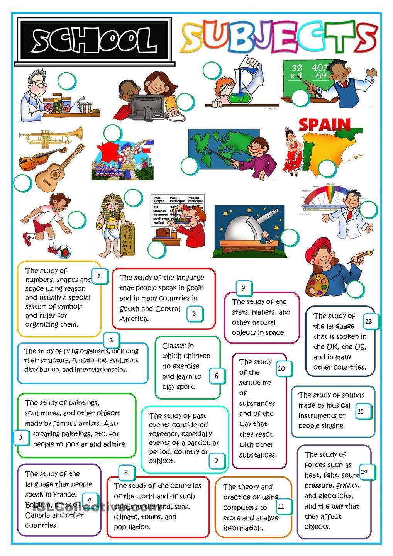 School subjects | Material para aulas | Pinterest | Englisch ...