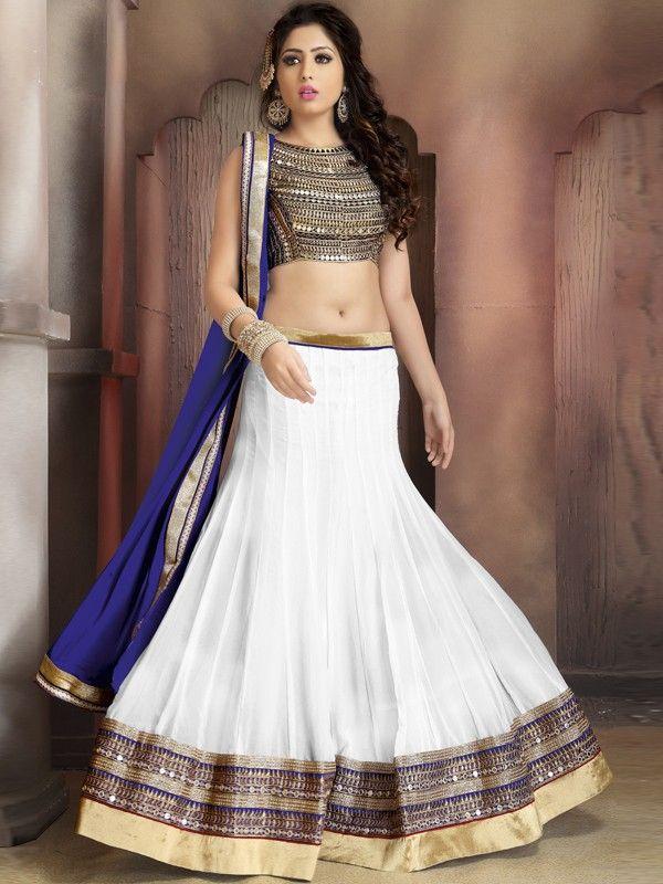 24d079dca9 White Color Georgette Lehenga Choli | Trending Navratri Collection ...