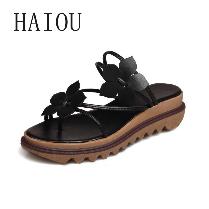 32d4bbb85110 2017 Fashion Women s Flip-Flop Sandals Platform Beach Flip Flops Slippers  Sandals Swing Wedges Sandal