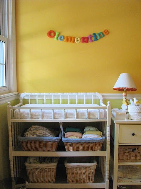 A changing table like this with baskets for the massive cloth diaper ...