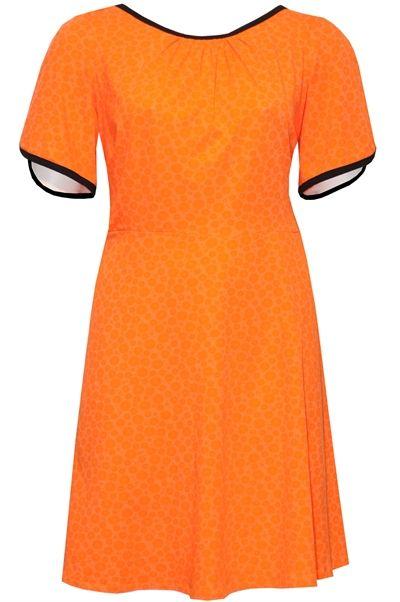 b09dc33ea88 plus size jersey kjole chita orange sort blomst | Orange | Pinterest ...