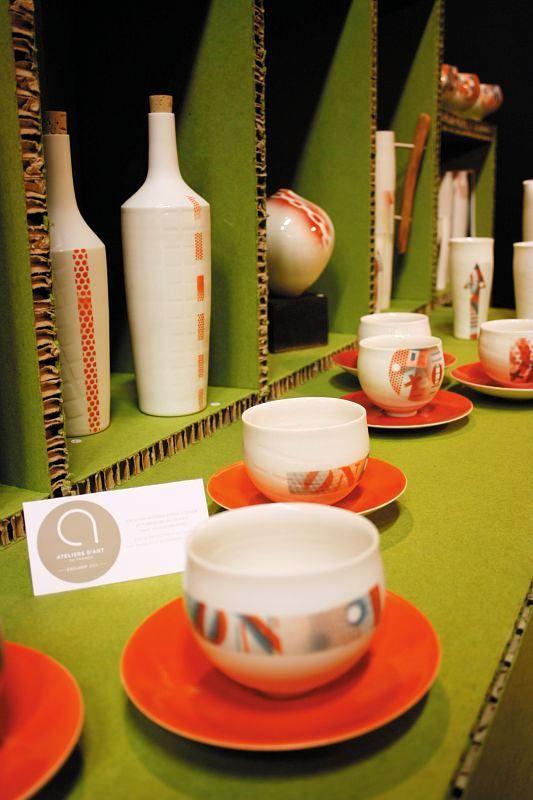 2013 Argilla France. International pottery fair. Porcelain. Cup. Bowl. Plate. Bottle