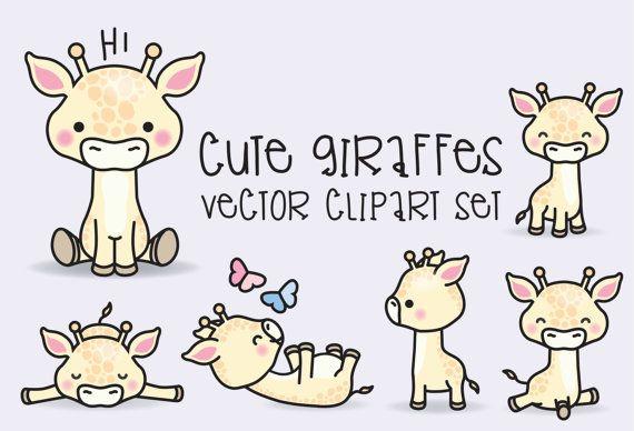 Premium Vector Clipart Kawaii Giraffes Cute Giraffes Clipart Set High Quality Vectors Instant Download Kawaii Kawaii Clipart Vector Clipart Clip Art
