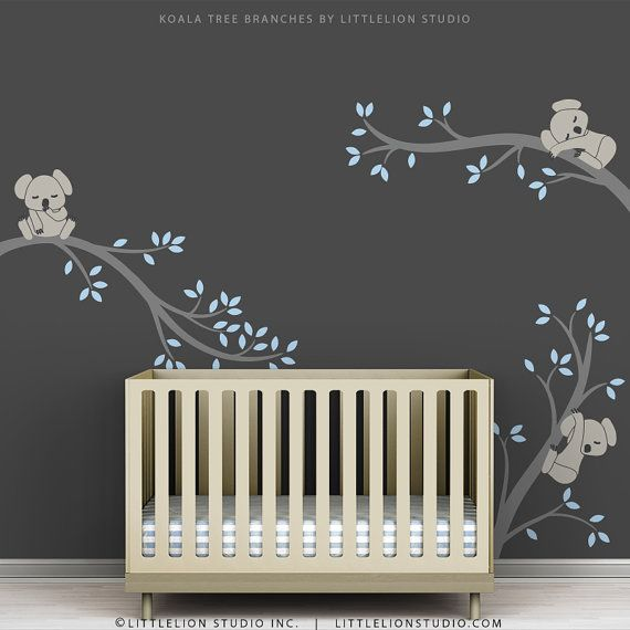 Blue Baby Boy Wall Decal Nursery Tree Sticker Decor
