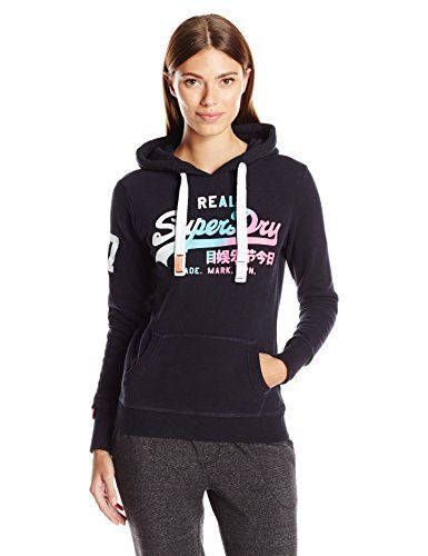 Superdry Womens Vintage Logo Duo Fade Hoodie Eclipse Navy Small You Can Find More Details By Visiting The Sweatshirts Women Superdry Women Vintage Hoodies