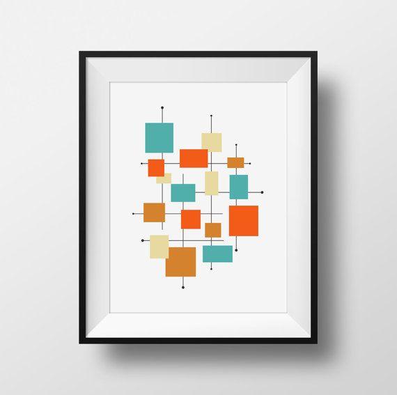 Squares Mid Century Modern Art Turquoise Orange Tan Brown Printable