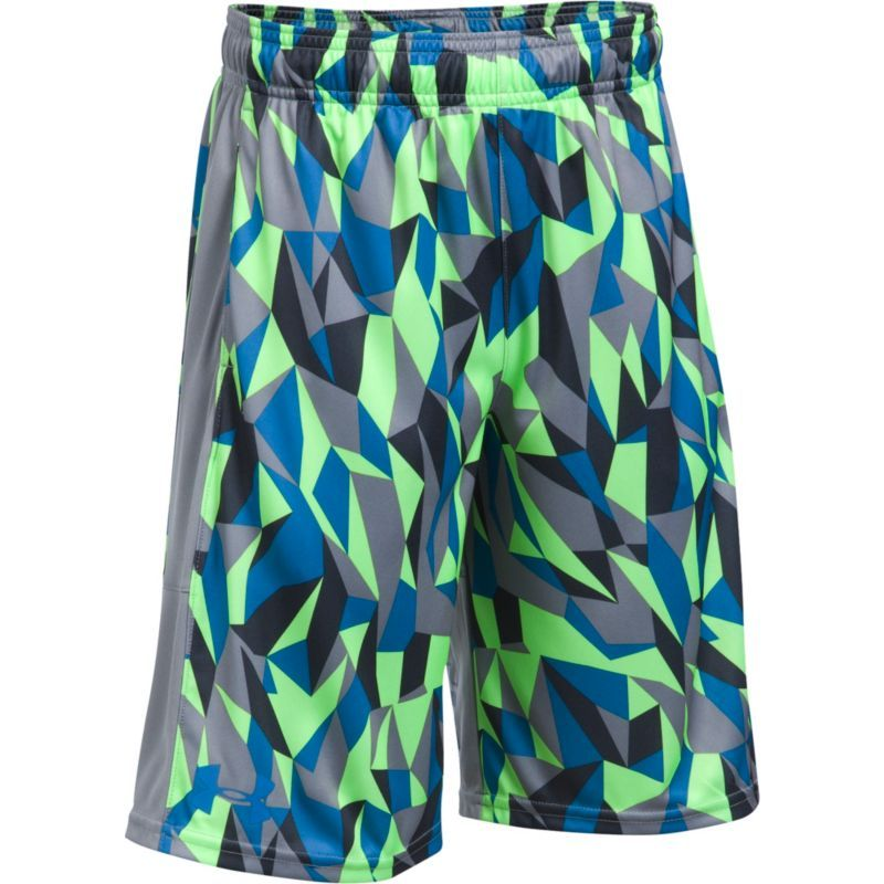 84a475433 Under Armour Boys' Stunt Printed Shorts, Size: Medium,  Quirkylime/Silver/Cruisebl