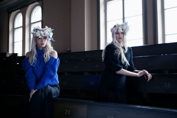Jenni Alava AW12 Cousins, Astrid & Armida knits    photos: Diana Luganski  hair & make-up: Pentti Syrjälä  style: Jasmin Mishima  models: Noora L / Brand, Heidi / Paparazzi  assistant: Anna Mäkinen