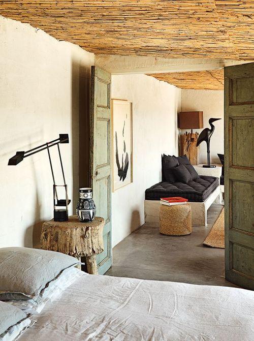 interieur chambre plafond en canisses bambou matiere vegetale materiaux naturels