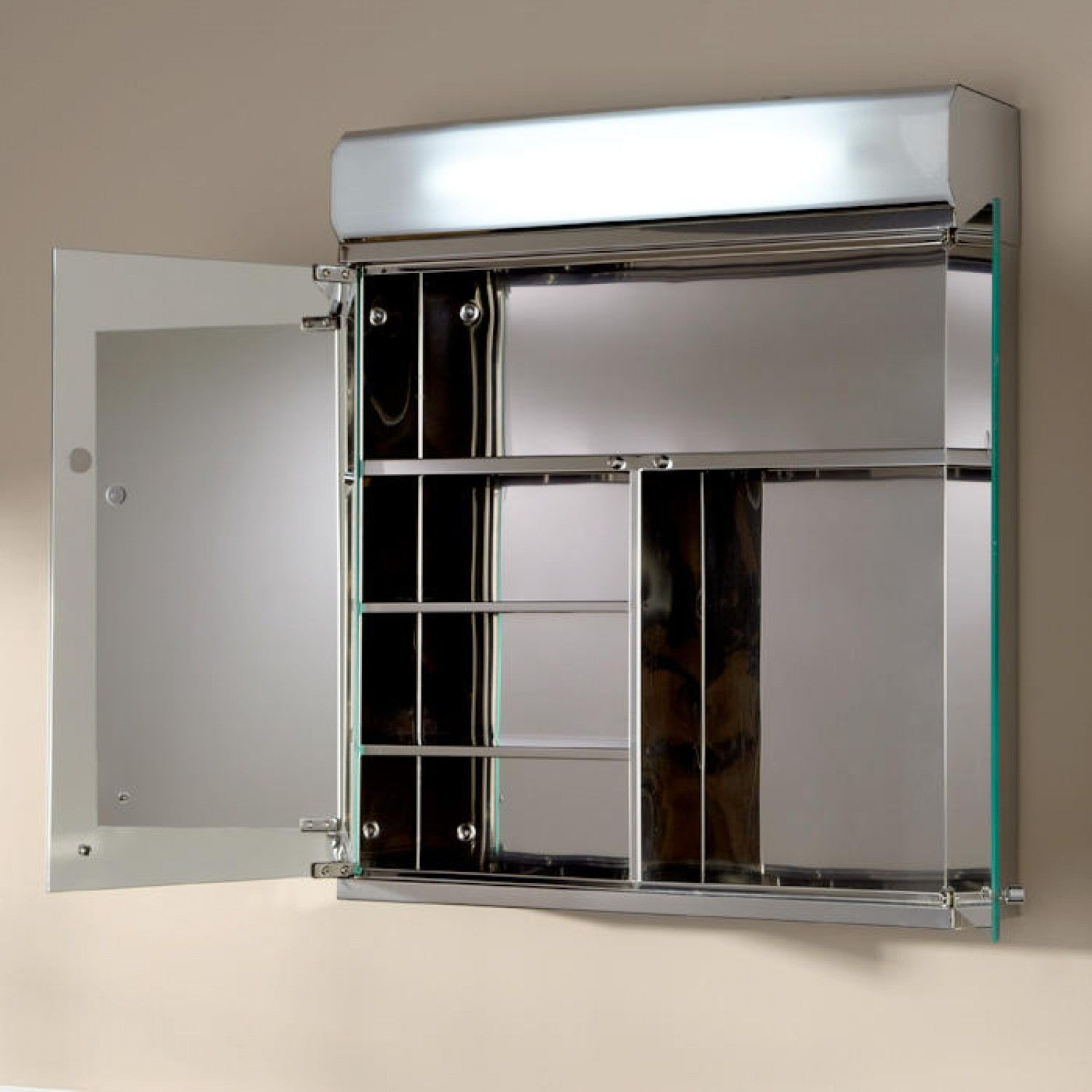 Delview Stainless Steel Lighted Medicine Cabinet With Mirror