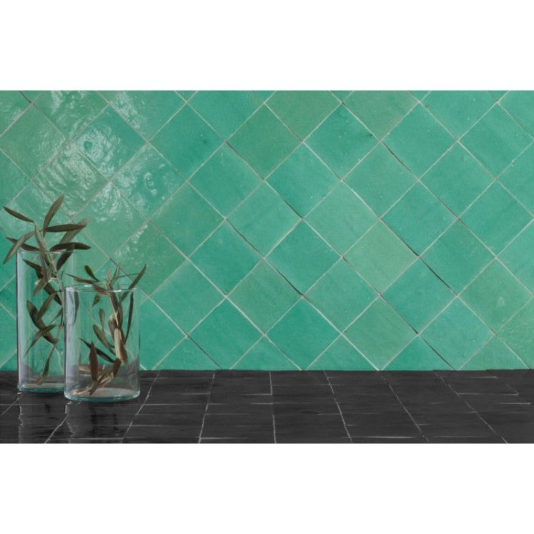 Medina Turquoise 10cm X 10cm Handcrafted Tile Wall Tiles Turquoise