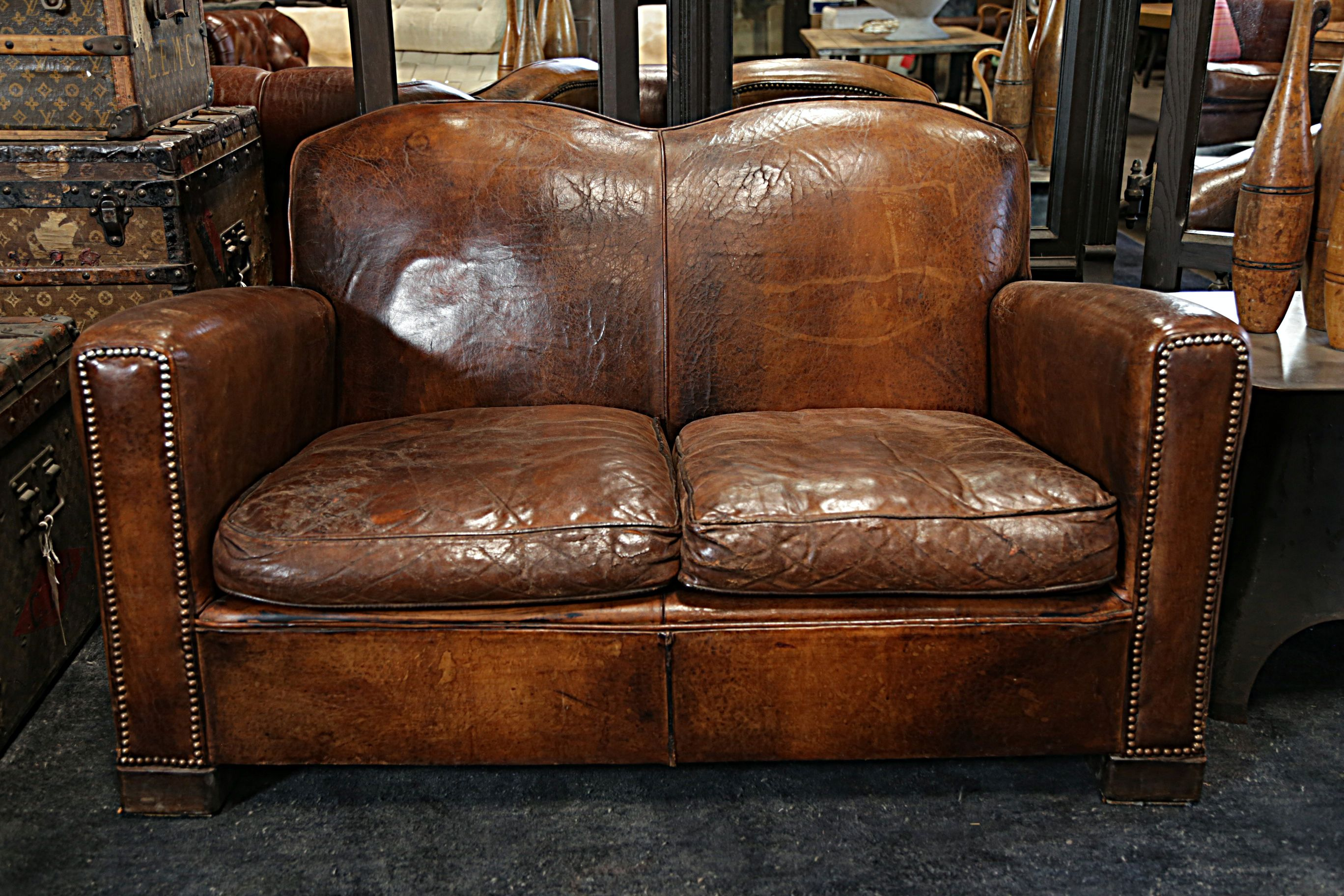 A gorgeous vintage leather couch, perfectly aged. http://bdantiques.com/
