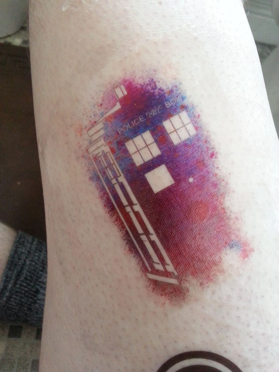 Small Doctor Who Tattoo: Doctor Who- Just An Ordinary Phone Box