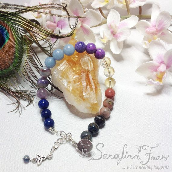 Working with the Energies means being connected with the Higher, or Angelic Realms and especially with your Higher Self. It can take years of practice and meditation to achieve this state of being. created this Chakra Bracelet using gemstones which are in accordance with the colors of the 7 main Chakras to harmonize and cleanse them; but also to give you an extra tool to connect to the Higher Realms and your Higher Self.