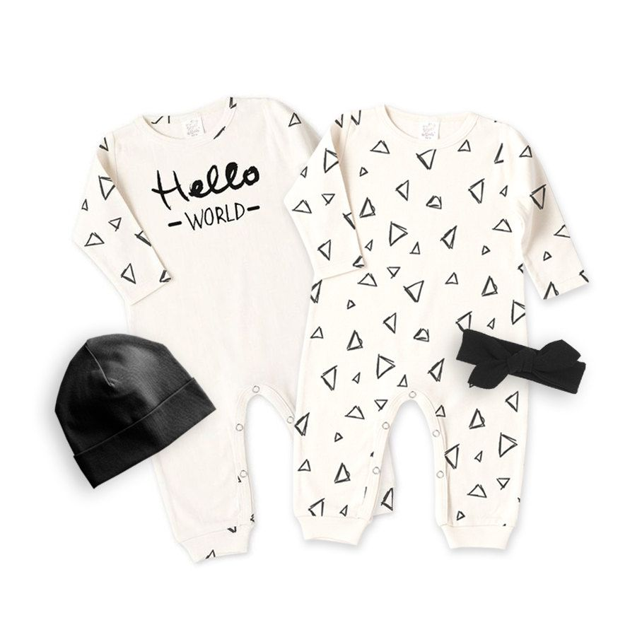Baby Romper & Optional Hat Headband, Hello World Hipster Minimalist Ivory Black Triangles, Baby Boy Girl Take Home Outfit Gift, Tesa Babe