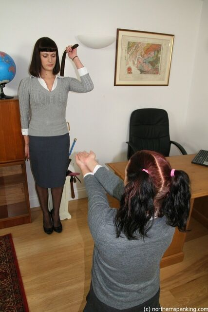 Naughty girls punished on the hands