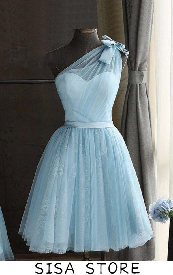 Lavender Short Tulle Homecoming Dresses, One Shoulder