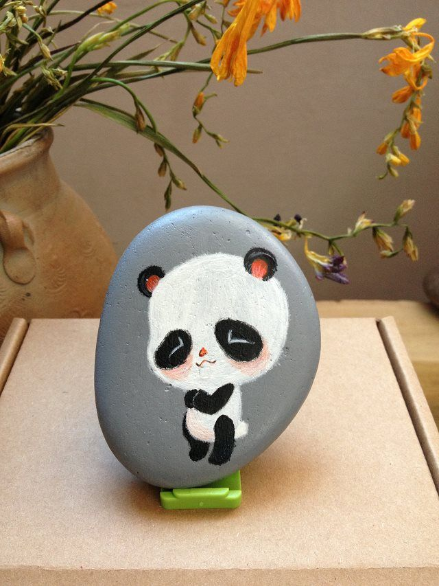 Cute Panda Panda Painting Painted Rocks Painted Rocks Kids