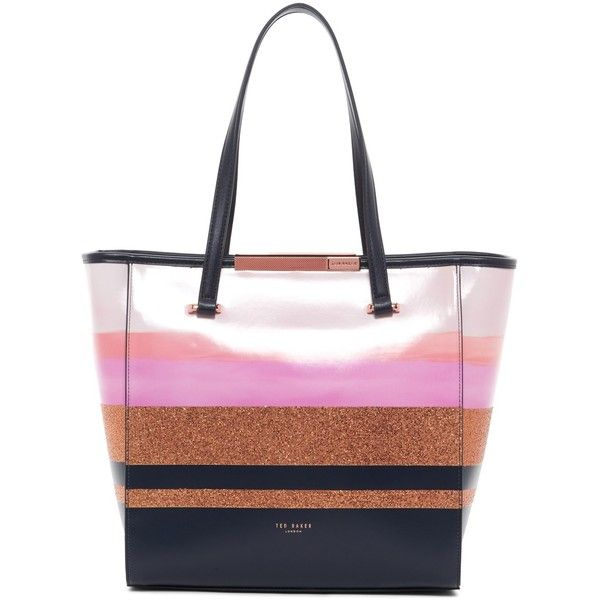 Ted Baker London Glitter Stripe Large Shopper ($125) ❤ liked on Polyvore featuring bags, handbags, tote bags, navy, ted baker tote bag, shopping bag, white tote, navy stripe tote and stripe tote