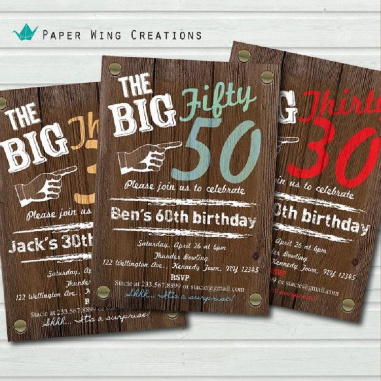 50th Birthday Invitations Male