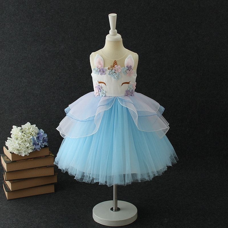 Baby Girls Unicorn Wedding Party Dress Tulle Pageant Princess Ball Gown Costume