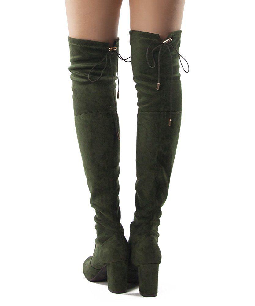 27ad18a17e824 Amazon.com   RF Women's Thigh High Over The Knee Block Chunky Heel ...