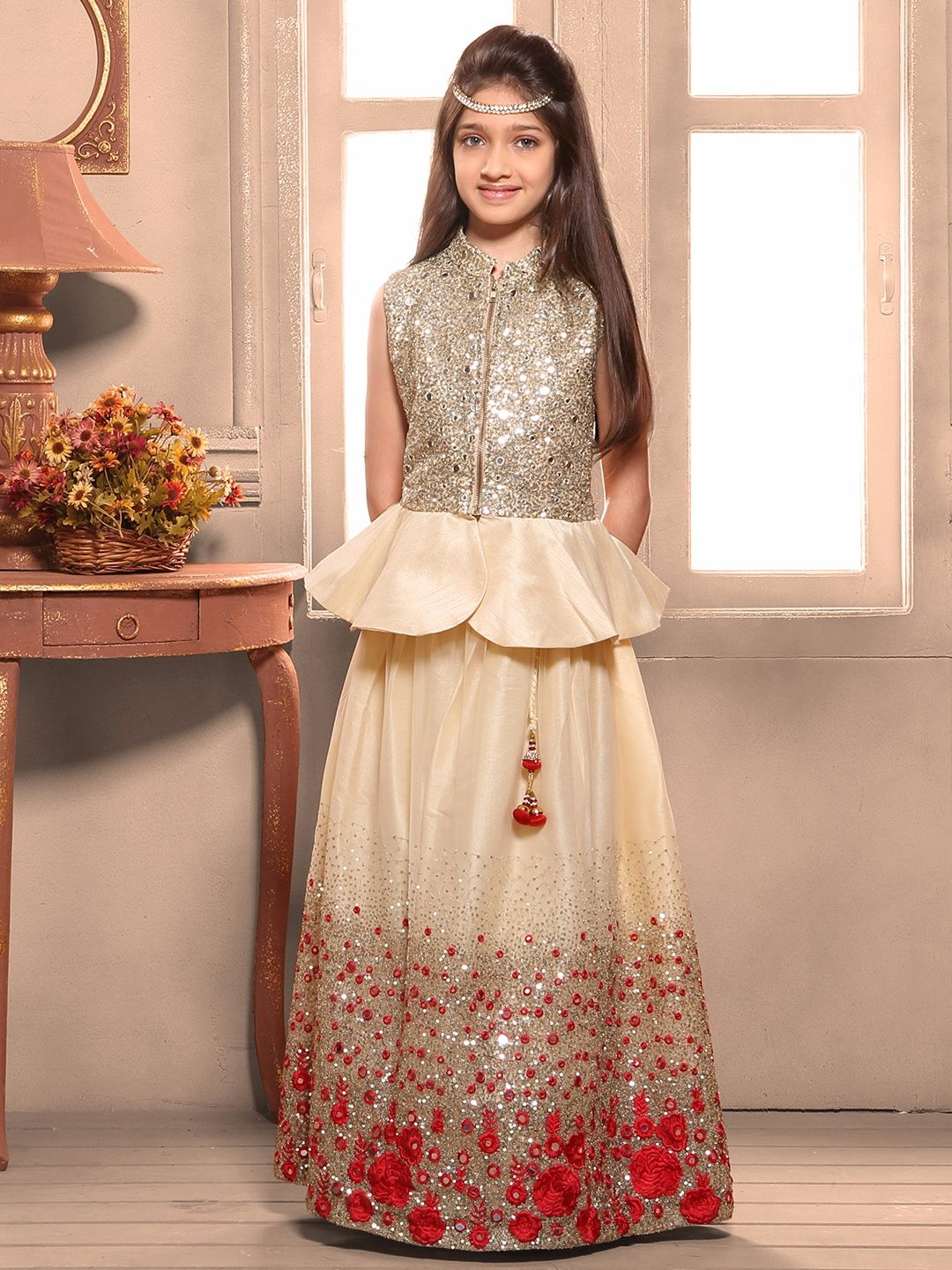 cream silk choli suit  kids designer dresses gowns for
