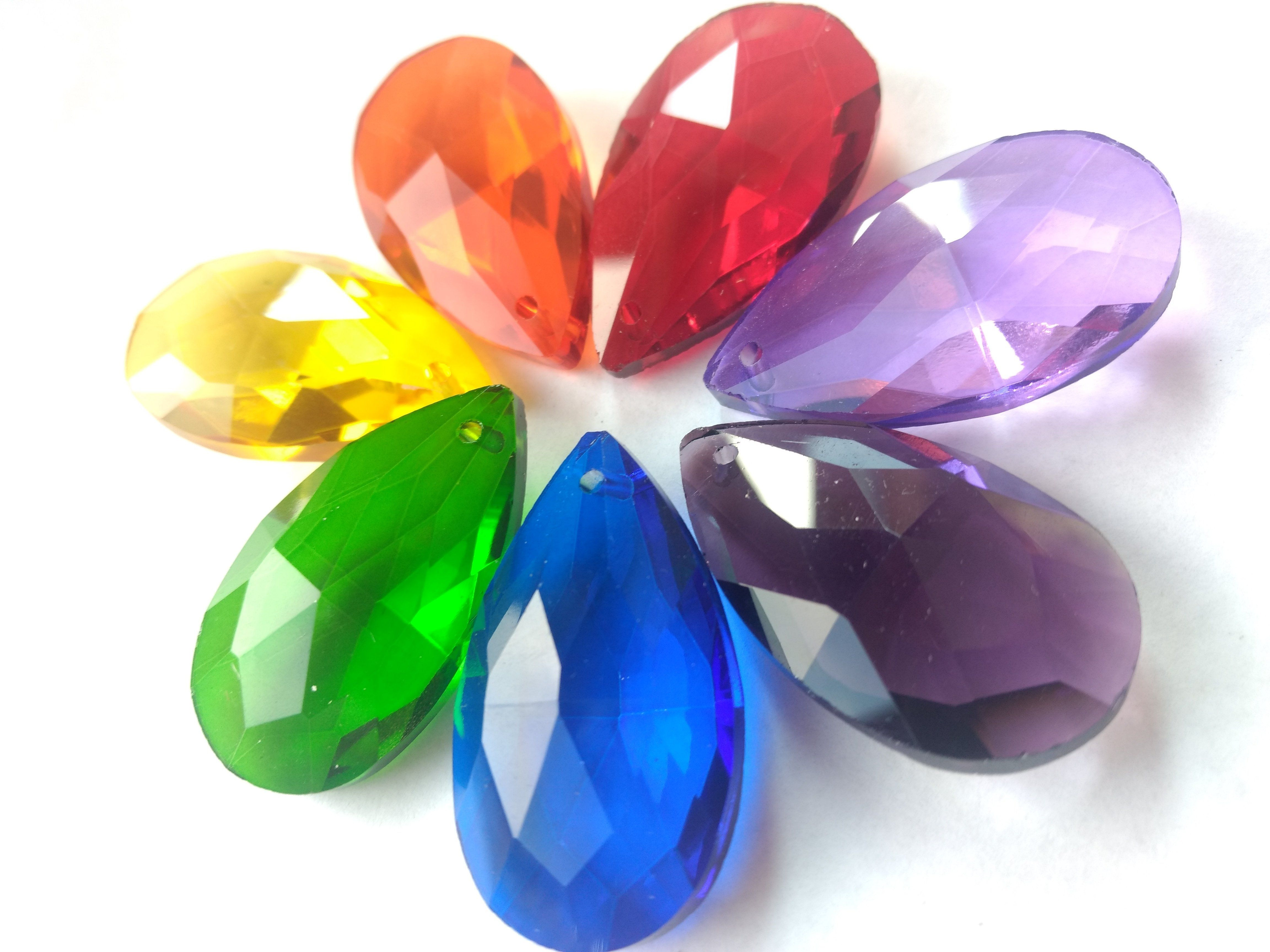 Set of 7 rainbow assortment color teardrop chandelier crystals 38mm set of 7 rainbow assortment color teardrop chandelier crystals 38mm arubaitofo Image collections