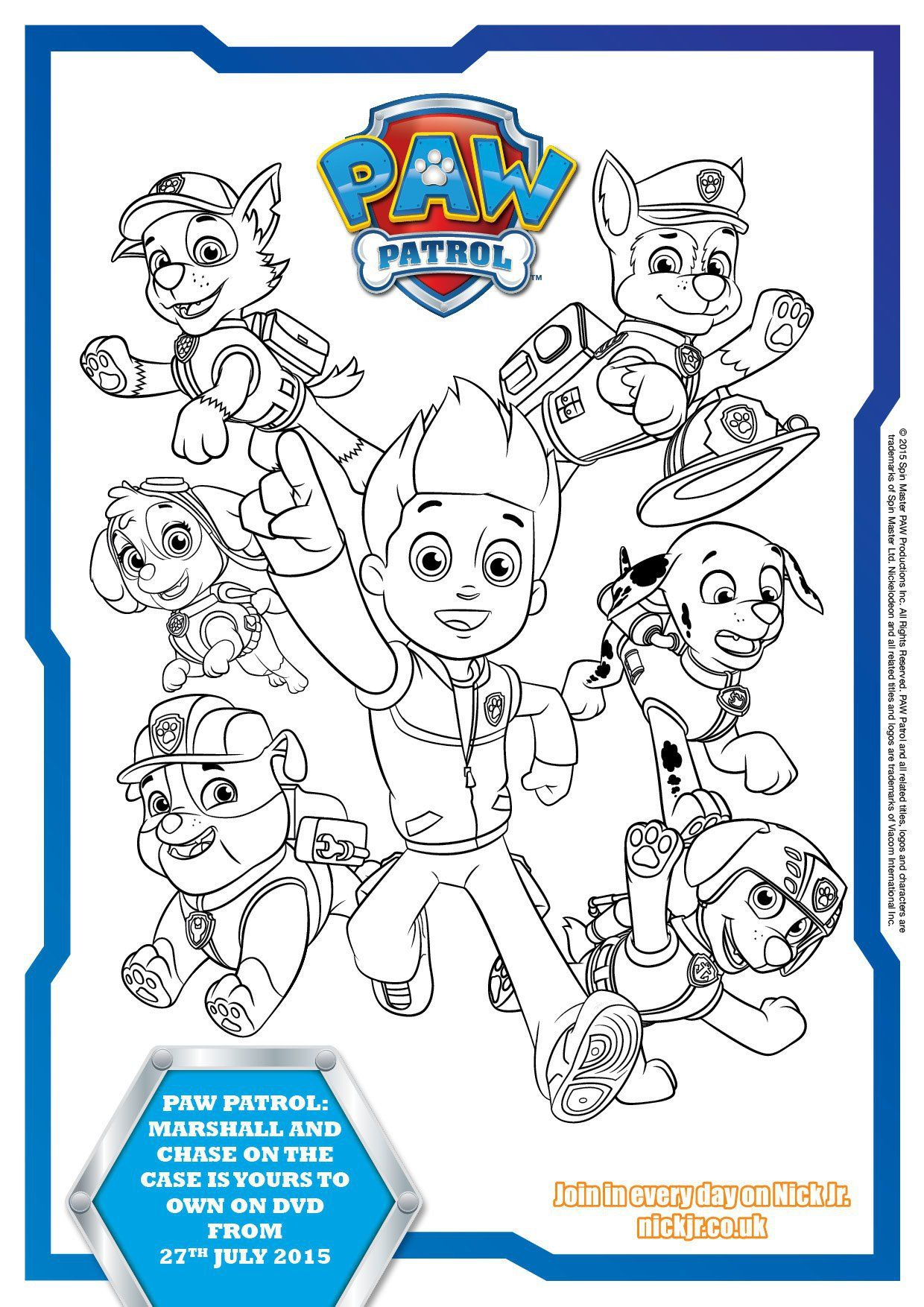 Paw Patrol Colouring Pages and Activity Sheets birthday