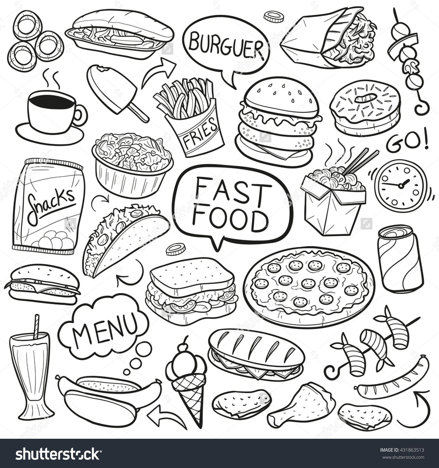Stock Vector Fast Food Doodle Icons Hand Made 431863513 Jpg 1500