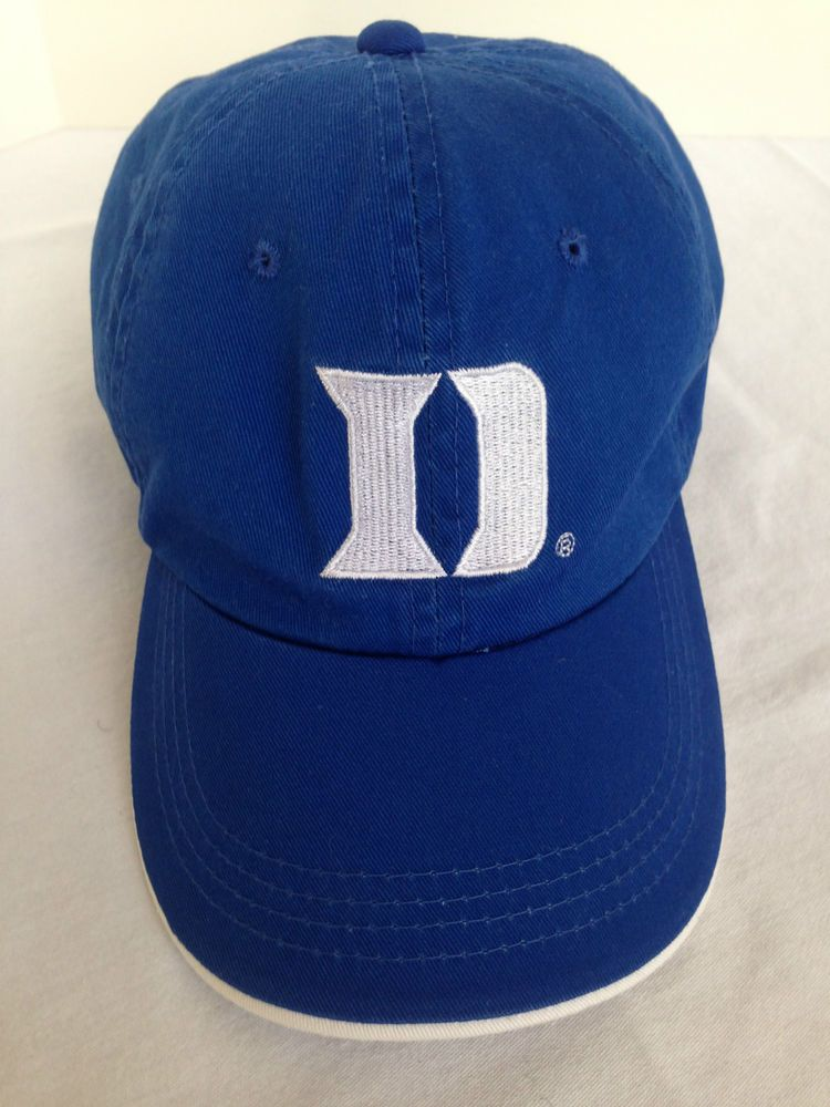NCAA DUKE UNIVERSITY BLUE DEVILS BALL CAP HAT OSFM ADJ CLOSE WHITE D LOGO  NC  Signatures  DukeBlueDevils bfb33d5b98b7