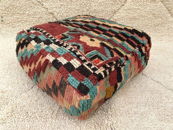 Exclusive Moroccan Floor Pillow Orange Floor Cushion Floor | Etsy