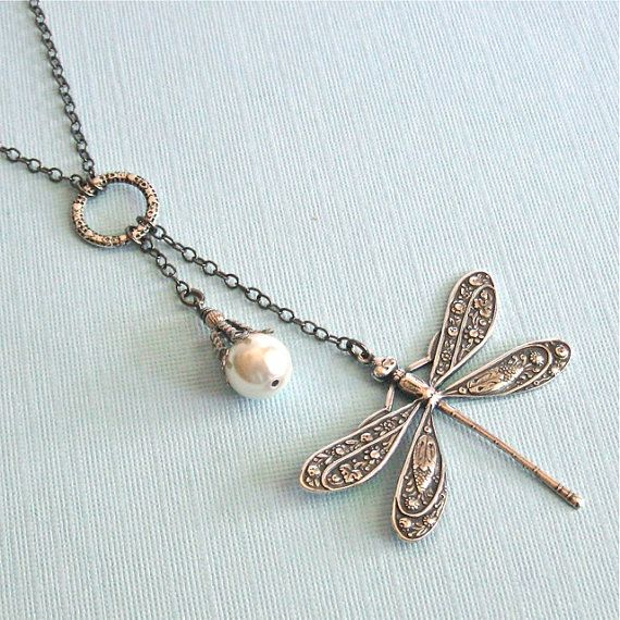 Silver Dragonfly Necklace  Lariat Style Pearl by mcstoneworks, $29.00