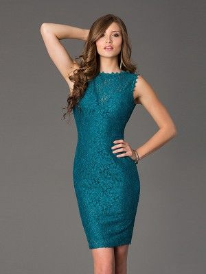 Sheath/Column Scoop Sleeveless Lace Short/Mini Lace Dresses - Tight Homecoming…