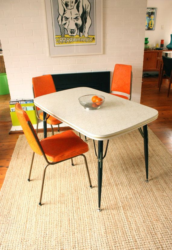Vintage 1950 S Kitchen Table And Orange Chairs By Tribecasvintage