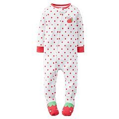 75ef45f66 Baby Girl Carter's Strawberry Footed Pajamas | Jelly | Cotton pjs ...