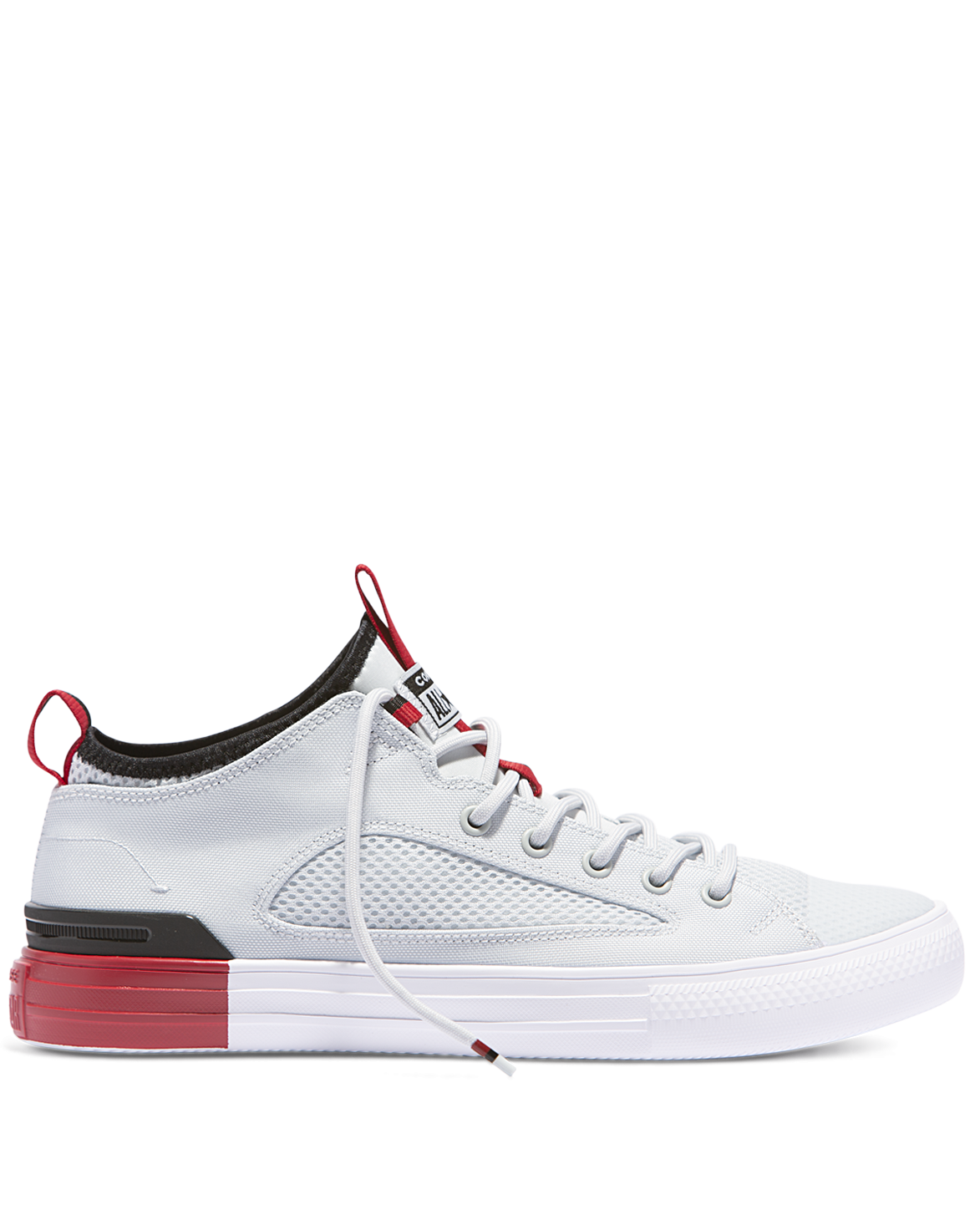 145ceb0bf010b2 Converse Chuck Taylor Ultra Colour Block Mesh Low Top - Pure Platinum is a  lace up sneaker with red colour block heel. Street style fashion ...