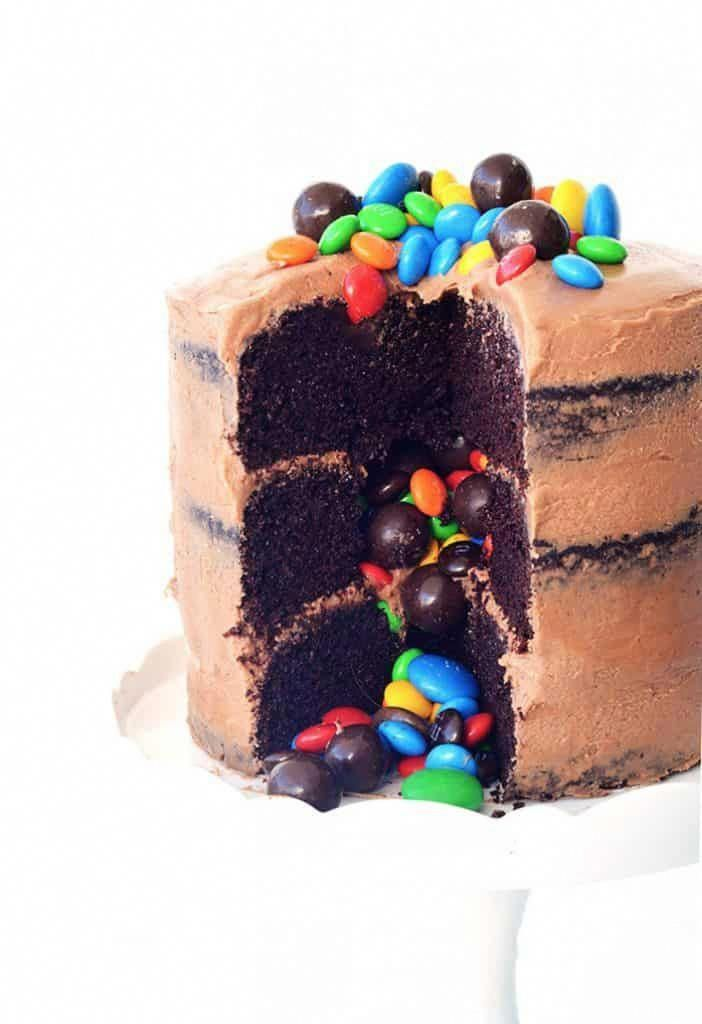 Photo of Chocolate Piñata Party Cake #cakerecipes #chocolatefrosting