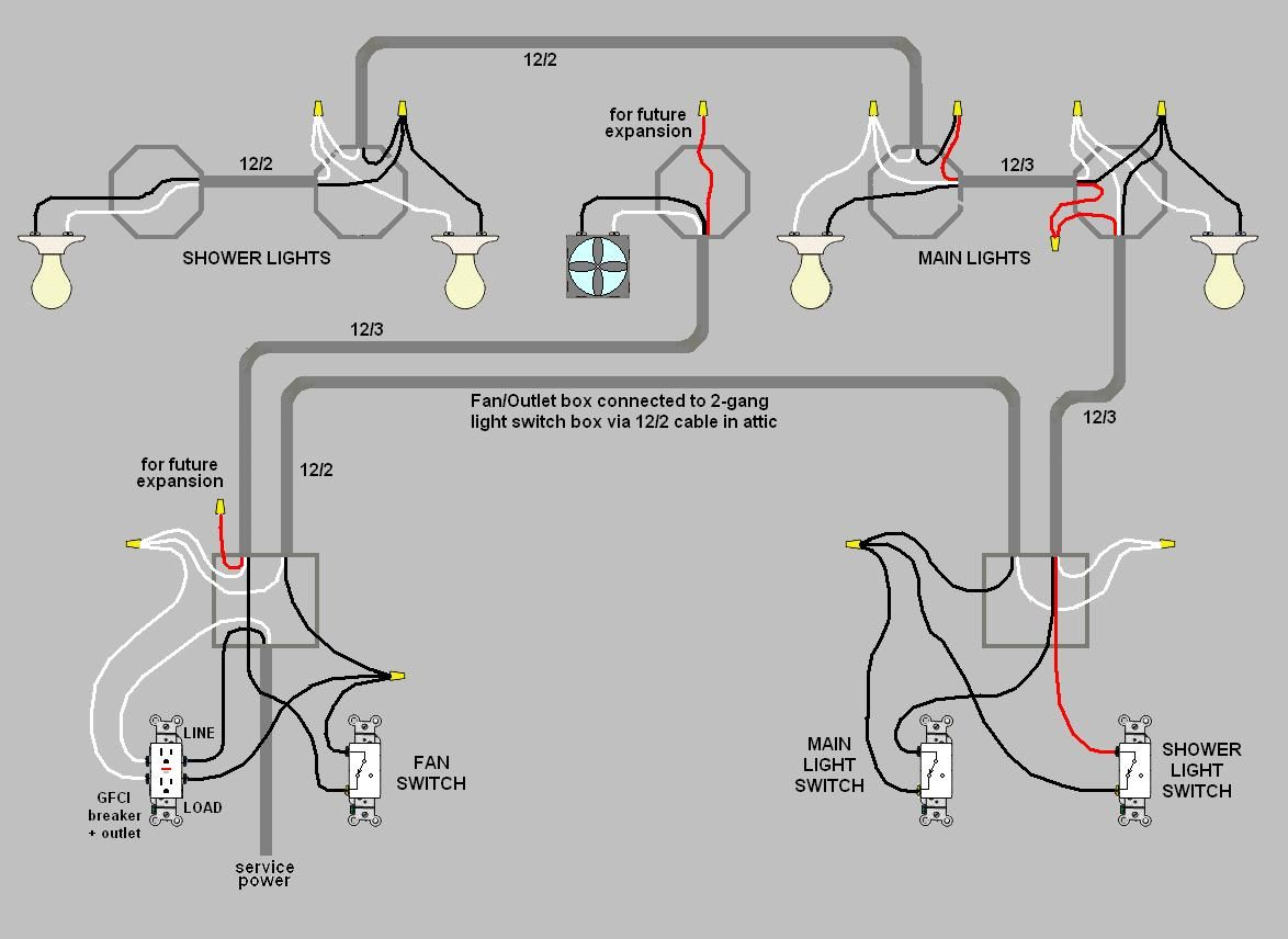 schema cablage 3 lights 2 switches