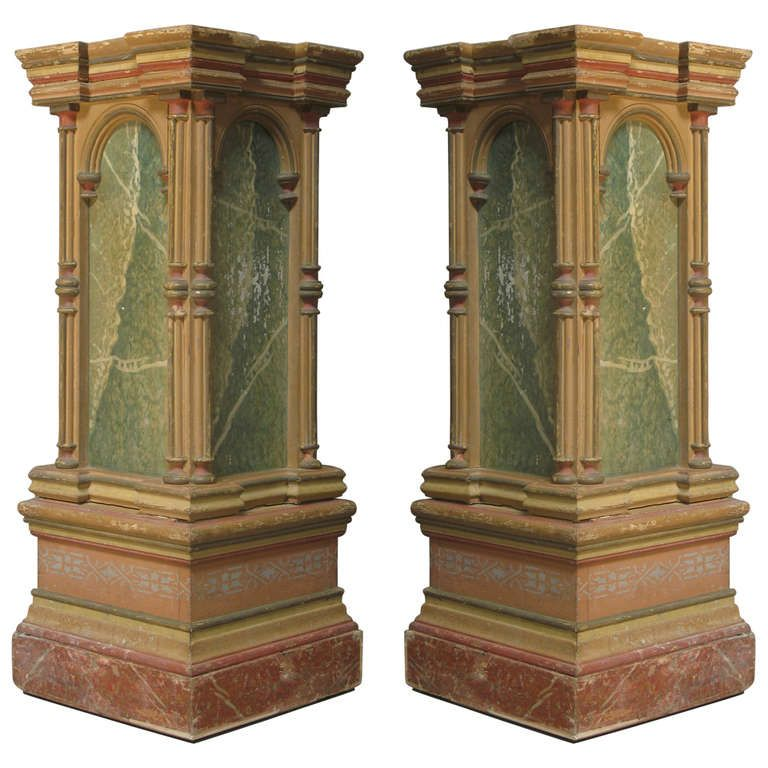 Pair Of Polychrome Pedestal Columns Italy 19th Century How To Antique Wood Architectural Antiques Marble Columns