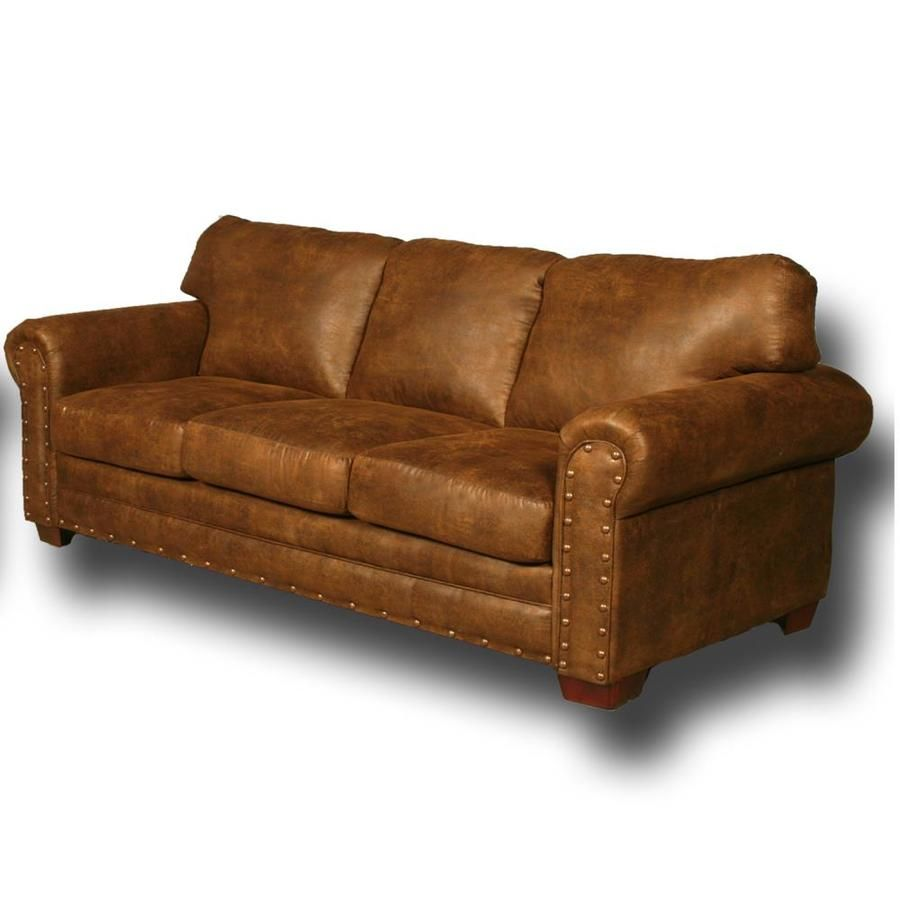 American Furniture Classics Bucksin Rustic Buckskin Microfiber Sofa Lowes Com American Furniture Faux Leather Sofa Nailhead Living Room