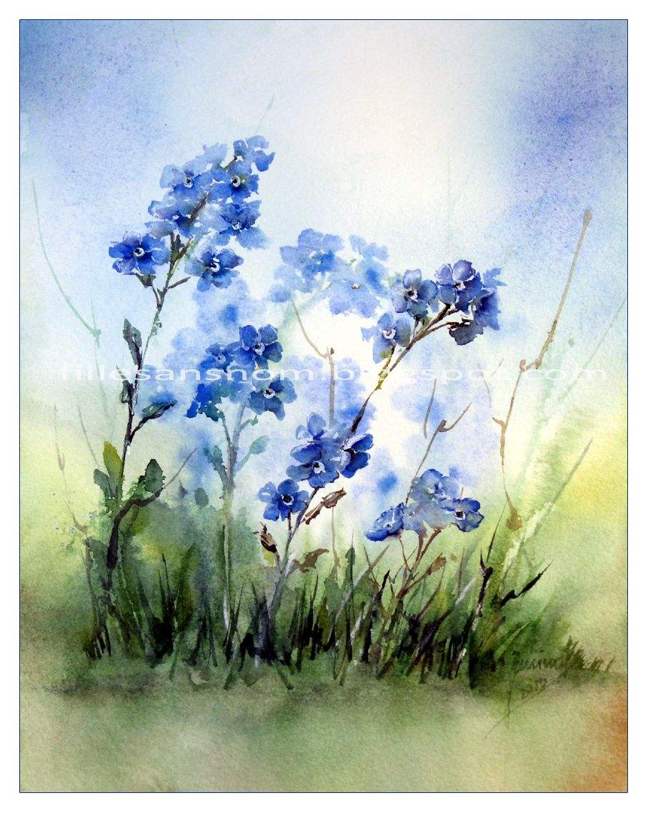 Vergissmeinnicht By Janipabel Aquarell Blumen Aquarell Blumen