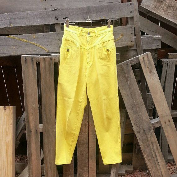 Vintage High-Waisted Authentic Gitano Express Yellow Pants (US Size 7)