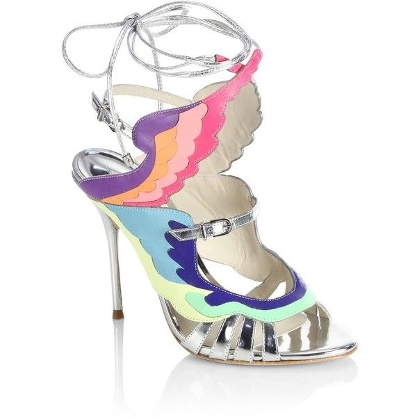 Sophia Webster Firebird Multicolor & Metallic Leather Ankle-Wrap... (€820) ❤ liked on Polyvore featuring shoes, sandals, strap sandals, strappy lace up sandals, metallic strappy sandals, ankle strap sandals and peep toe sandals