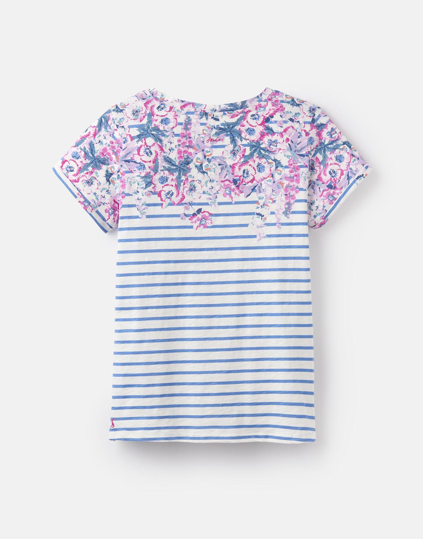 f90f48feb1a4f9 Nessa print BLUE STRIPE FLORAL BORDER Lightweight Jersey T-Shirt | Joules UK
